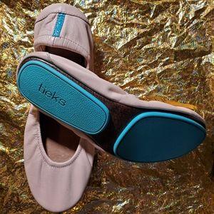 TIEKS Leather Flats light peach &turquoise blue